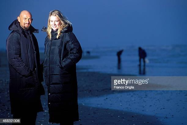 Italian cyclist Marco Pantani Tour de France and Giro d'Italia race winner in 1998 and his girlfriend Kristine Johanson pose at the Cesenatico's...