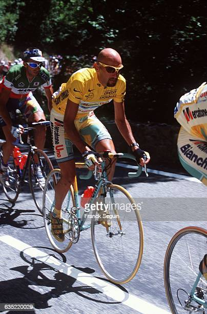 Italian cyclist Marco Pantani wearing the yellow jersey during the 18th stage of the 1998 Tour de France between AixLesBains and Neuchatel