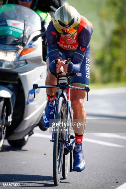 Italian Cyclist Vincenzo Nibali from Bahrain Merida Team rides during the 10th stage an individual timetrial between Foligno and Montefalco during...