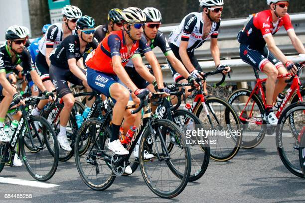 Italian cyclist Vincenzo Nibali from Team Bahrain Merida competes during the 12th stage of the 100th Giro d'Italia Tour of Italy cycling race from...
