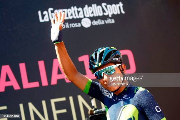Italian cyclist Vincenzo Nibali from Team Bahrain Merida gestures prior to the 12th stage of the 100th Giro d'Italia Tour of Italy cycling race from...