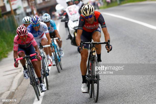 Italian cyclist Vincenzo Nibali of Bahrain Merida and Colombian cyclist Nairo Quintana of Movistar team ride during the 20th stage of the 100th Giro...