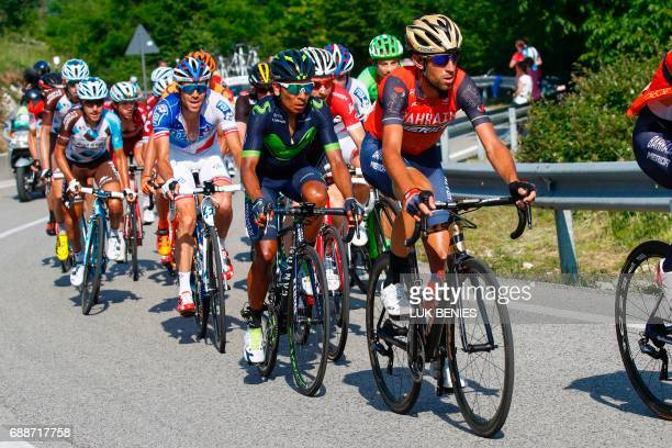 Italian Cyclist Vincenzo Nibali of Bahrain Merida team Colombian cyclist Nairo Quintana of Movistar team and French cyclist Thibaut Pinot of Team FDJ...