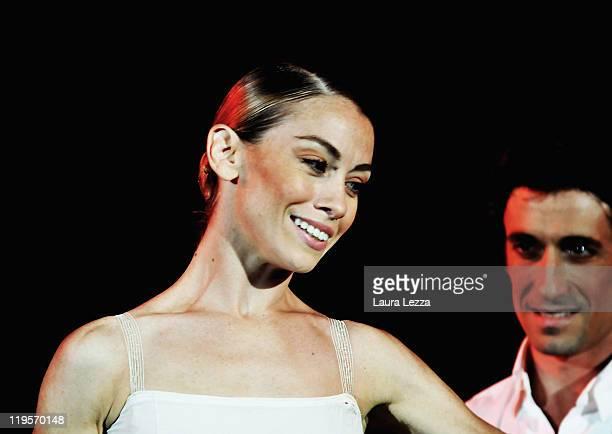 Italian dancer Eleonora Abbagnato and dancer Benjamin Pech perform on stage at Teatro del Silenzio during the Bravo Italy China concert on July 21...