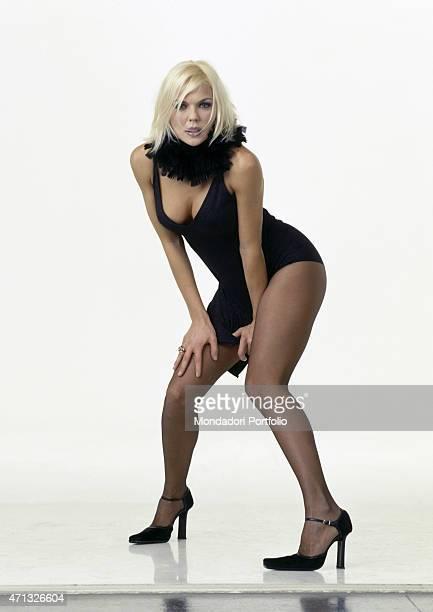 Italian dancer showgirl and TV presenter Matilde Brandi posing on the set of the TV variety show Torno sabato Italy 2000