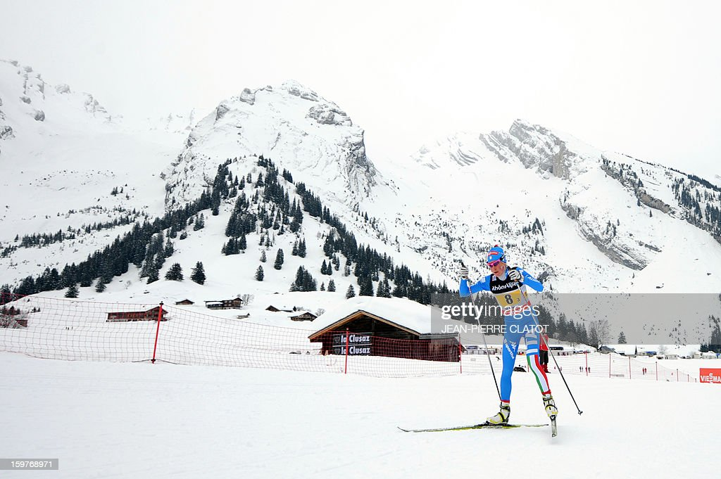 Italian Debora Agreiter competes in the Ladies's Nordic skiing combined World Cup relay (4 x 5 km) on January 20, 2013 in La Clusaz, eastern France.
