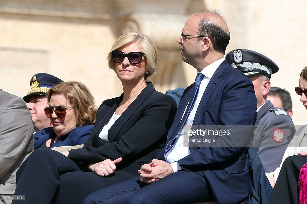 Italian Defence Minister Roberta Pinotti (L) and Italian Interior Minister Angelino Alfano attend the Pope Francis' Jubilee Audience in St. Peter's Square on April 30, 2016 in Vatican City, Vatican. Pope Francis held an extraordinary Jubilee Audience in St. Peter's Square for thousands of eager pilgrims. The Audience also celebrated the Jubilee for members of the police and armed forces.