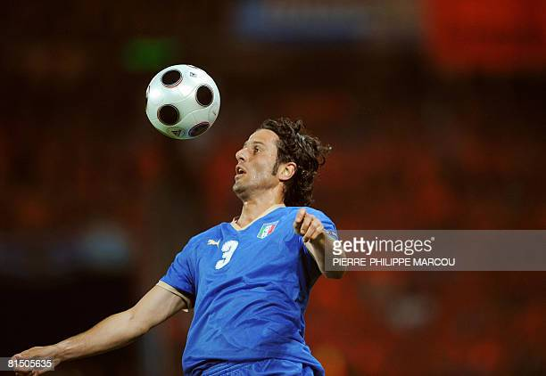 Italian defender Fabio Grosso controls the ball during their Euro 2008 Championships Group C football match the Netherlands vs Italy on June 9 2008...