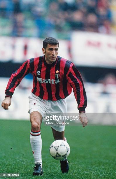 Italian defender Mauro Tassotti in action for AC Milan in a Serie A match against Sampdoria at San Siro Milan 13th March 1994 Milan won the match 10
