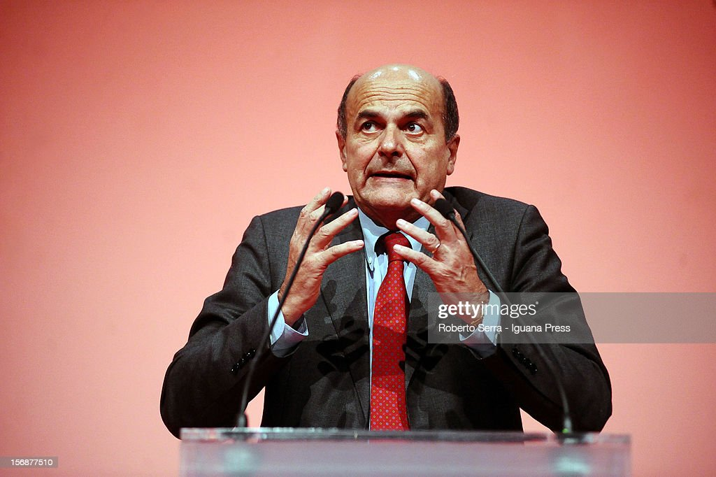 Italian Democratic Party's Secretary Pierluigi Bersani hold his speech to his supporters at PalaDozza on November 23, 2012 in Bologna, Italy. Pierluigi Bersani is candidate for primary elections of PD (democratic party).