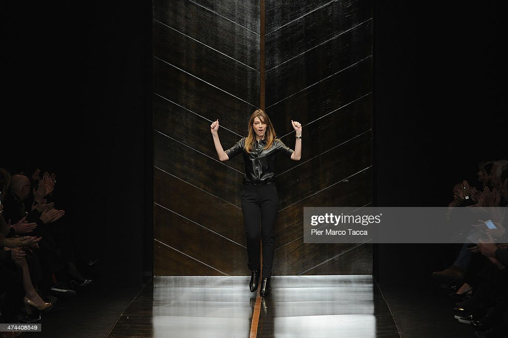 Italian designer Gaia Trussardi acknowledges the audience at the end of the Trussardi show as part of Milan Fashion Week Womenswear Autumn/Winter 2014 on February 23, 2014 in Milan, Italy.