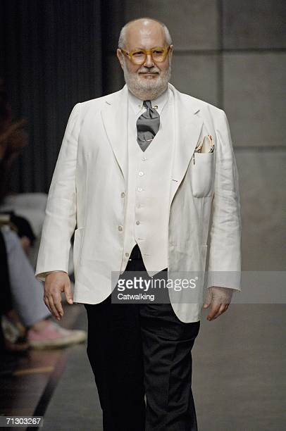 Italian designer Gianfranco Ferre walks down the runway at the Gianfranco Ferre show as part of Milan Menswear Spring/Summer 2007 Collections on June...