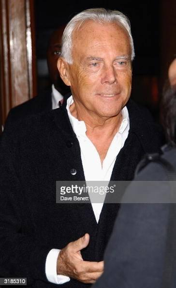 Italian designer Giorgio Armani attends the cocktail party to celebrate 'Giorgio Armani Retrospective' at the Royal Academy on October 14 2003 in...