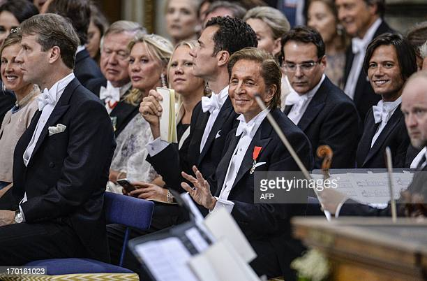 Italian designer of Madeleine's wedding dress Valentino Garavani is seen at the Royal church during Princess Madeleine of Sweden and Christopher...