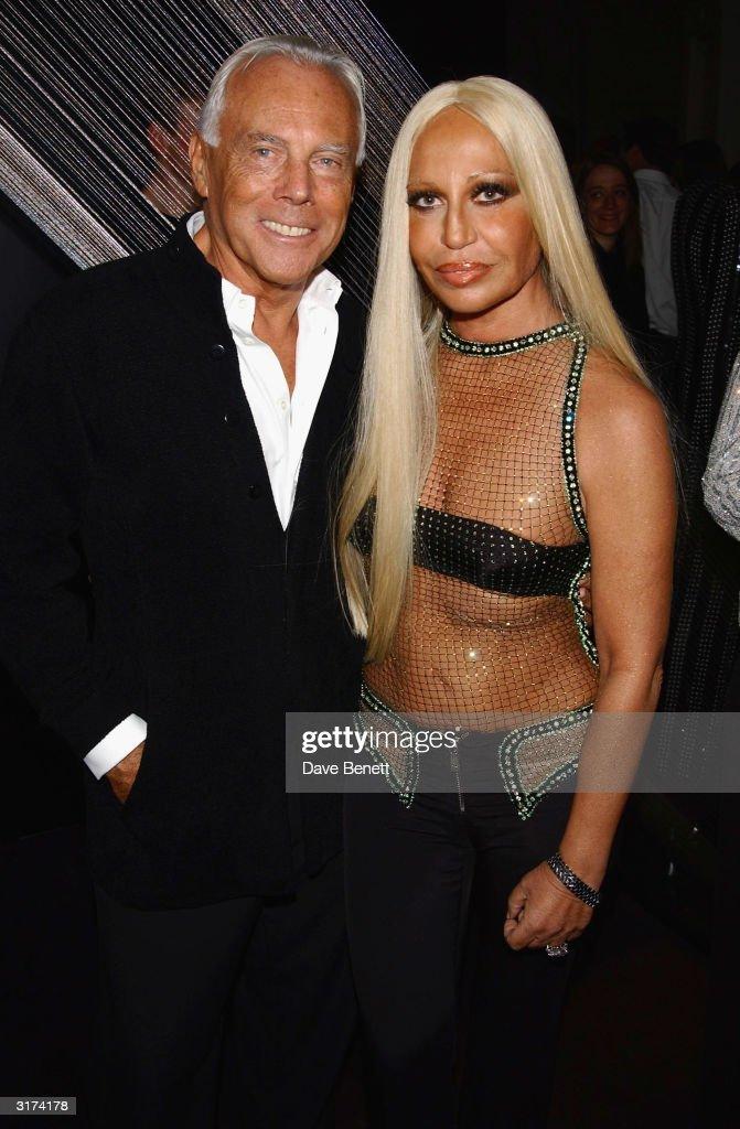 Italian designers Giorgio Armani and Donatella Versace attend the cocktail party to celebrate 'Giorgio Armani Retrospective' at the Royal Academy on...