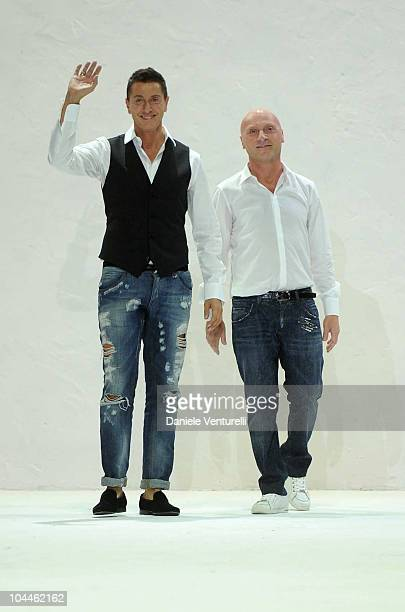 Italian Designers Stefano Gabbana and Domenico Dolce acknowledge the applauses at the end of the Dolce Gabbana Womenswear S/S 2011 show during Milan...