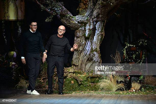 Italian designers Stefano Gabbana and Domenico Dolce acknowledge the applause of the audience after the Dolce Gabbana show as part of Milan Fashion...
