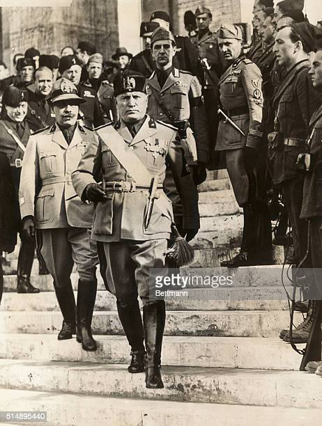 Italian dictator Benito Mussolini and fellow Fascists dedicate a university in Rome