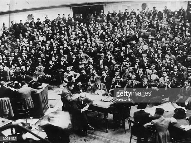 Italian dictator Benito Mussolini attends a fascist meeting in Rome