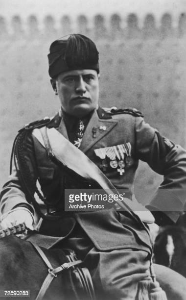 Italian dictator Benito Mussolini on horseback circa 1930