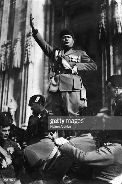 Italian dictator Benito Mussolini who established himself as a dictator in October 1922