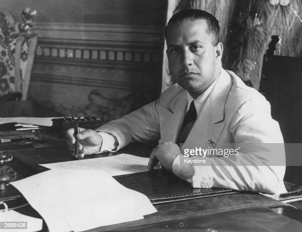 Italian diplomat Count Galeazzo Ciano Mussolini's foreign minister and son in law at work in his office at Rome