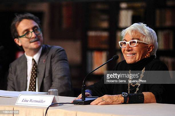 Italian director and author Lina Wertmuller attends the presentation of her autobiographical book 'Tutto a Posto Niente in Ordine' with Gianluca...