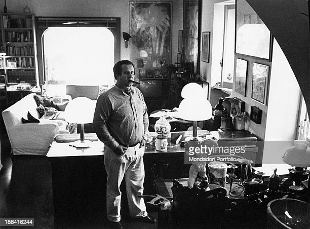 Italian director and playwright Tinto Brass smoking a cigar in his country house Rome 1979
