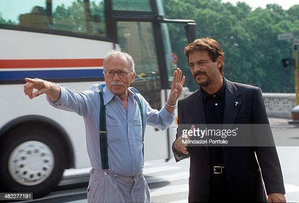 Italian director and scriptwriter Giorgio Capitani giving some directions to Italian actor Massimo Dapporto on the set of the TV series Un prete tra...