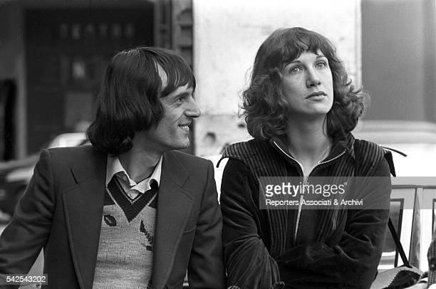 Italian director Dario Argento and his wife Italian actress Daria Nicolodi on the set of Deep Red 1975