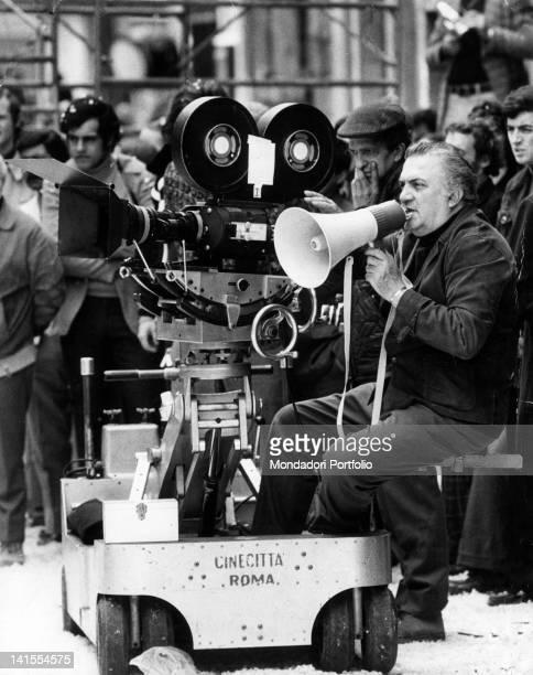 Italian director Federico Fellini on the set of 'Amarcord' Rome 1973