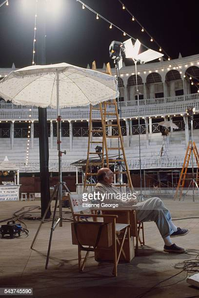 Italian director Francesco Rosi on the set of his film 'Cronaca di una morte annunciata ' based on the Colombian writer Gabriel Garcia Marquez's...