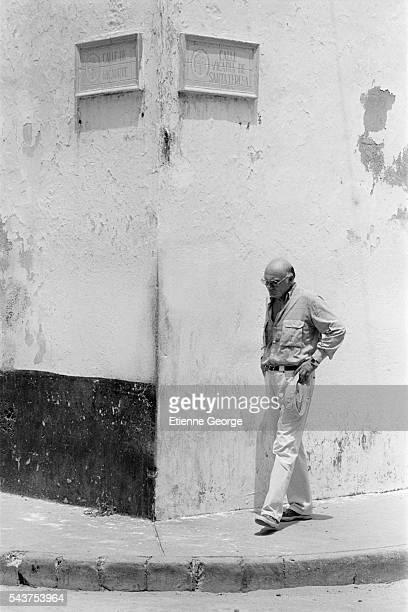 Italian director Francesco Rosi on the set of his film 'Cronaca di una Morte Annunciata' based on Colombian writer Gabriel Garcia Marquez's novel by...