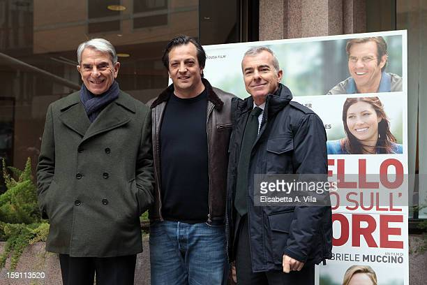 Italian director Gabriele Muccino poses with producers Carlo Rossella and Giampaolo Letta during the 'Playing for Keeps' photocall at Hotel Visconti...
