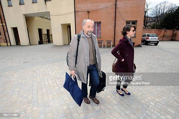 Italian director Giorgio Diritti and italian actress Jasmine Trinca attends the preview of their latest film 'Un Giorno Devi Andare' at Cineteca di...