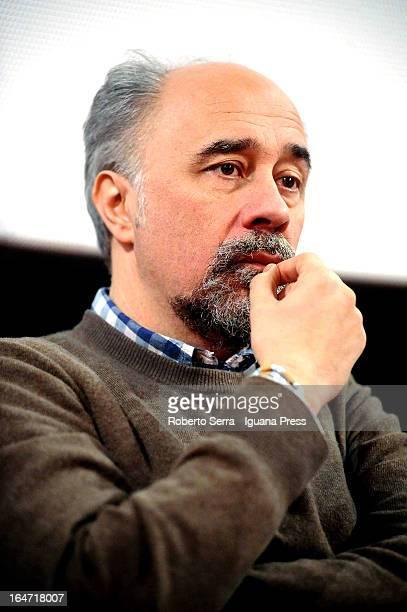 Italian director Giorgio Diritti attends the preview of his latest film 'Un Giorno Devi Andare' at Cineteca di Bologna on March 27 2013 in Bologna...