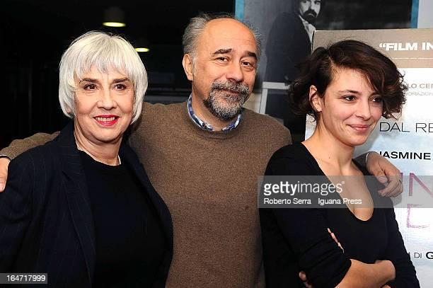 Italian director Giorgio Diritti with italian actress Pia Hengleberth and Jasmine Trinca attends the preview of their latest film 'Un Giorno Devi...