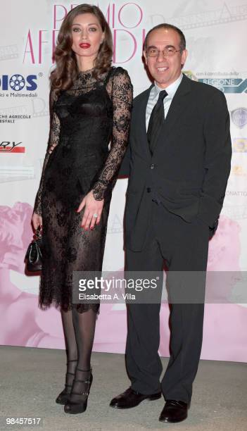 Italian director Giuseppe Tornatore and actress Margareth Made attend the '2010 Premio Afrodite' at the Studios on April 14 2010 in Rome Italy