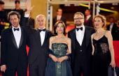 Italian director Paolo Sorrentino and his wife and actors Toni Servillo Anna Bonaiuto and Massimo Popolizio and Servillo's wife pose as they arrive...