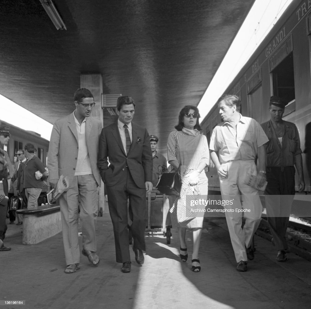 Italian director Pierpaolo Pasolini with Anna Magnani at the railway station Venice 1962