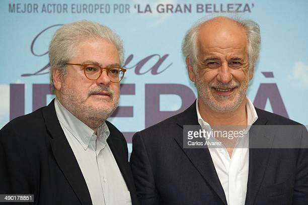 Italian director Roberto Ando and Italian actor Toni Servillo attend the Viva la Libertad' photocall at the Instituto Italiano de la Cultura on May...
