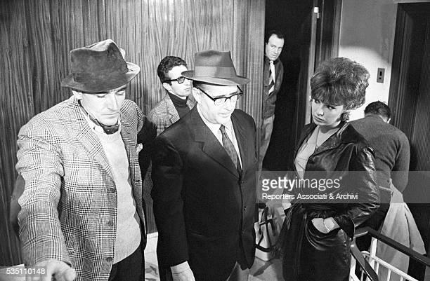 Italian director Roberto Rossellini Italian actor Vittorio Gassman and Austrian actress Nadja Tiller on the set of the film Black Soul Italy 1962
