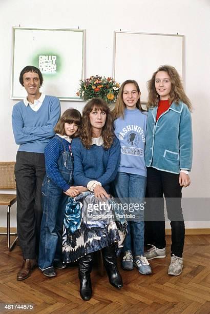 Italian director scriptwriter and producer Dario Argento posing in his house with his wife Italian actress Daria Nicolodi The daughter of Daria...