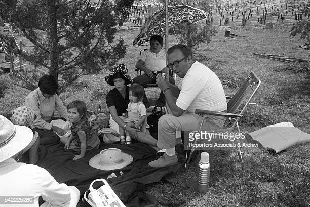 Italian director Sergio Leone with his wife Carla and daughters Raffaella and Francesca on the set of The Good the Bad and the Ugly 1966