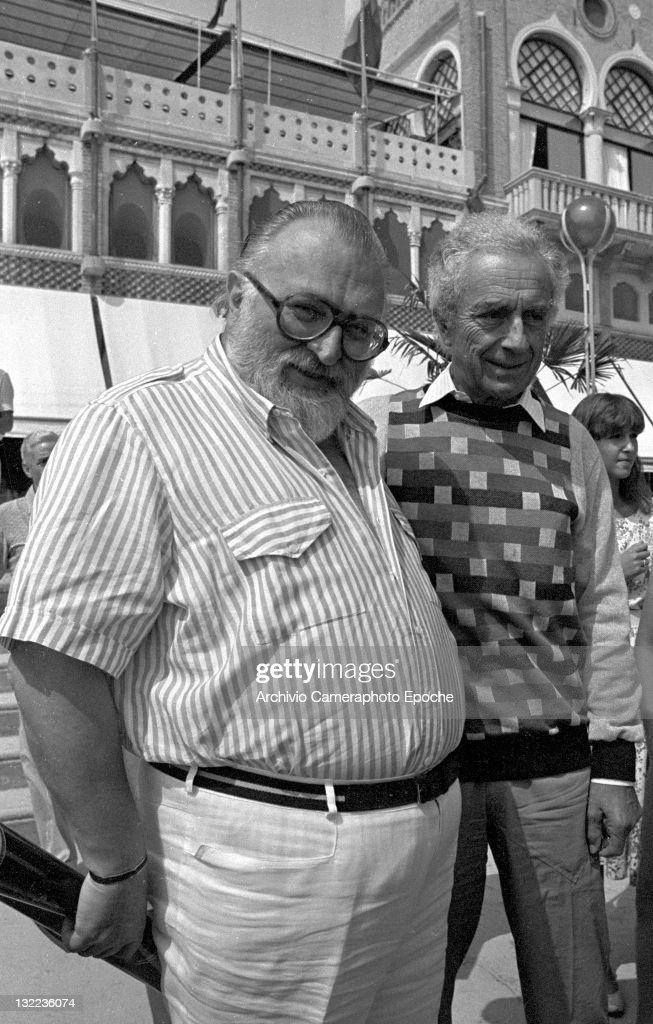 Italian director Sergio Leone with Michelangelo Antonioni outside the Excelsior hotel Lido Venice 1984
