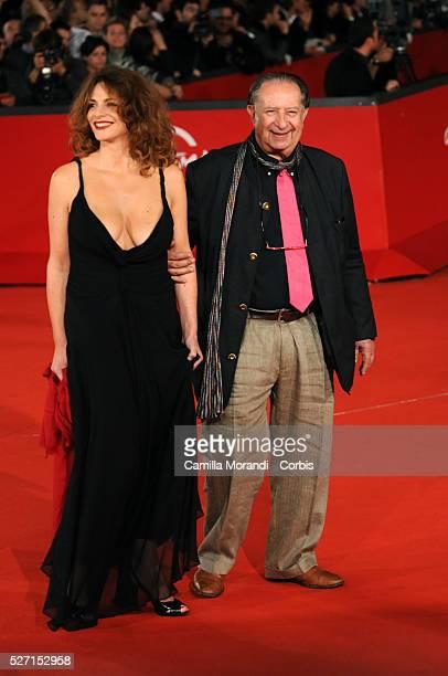 Italian director Tinto Brass with Caterina Sanzo attend the premiere of 'L'uomo che ama' during the 2008 Rome Film Festival