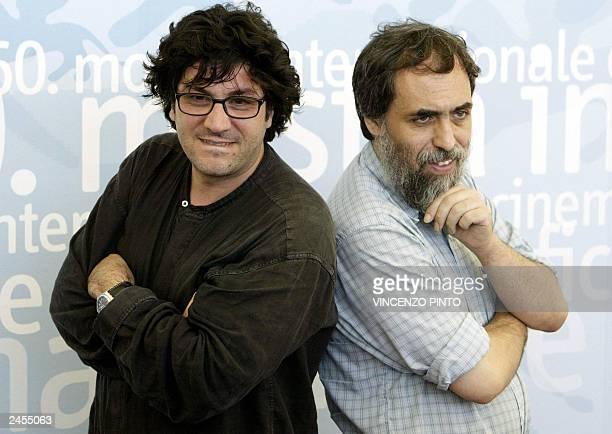 Italian directors Daniele Cipri and Franco Maresco pose during a photo call at Venice Lido 31 August 2003 The directors are in Venice to present...