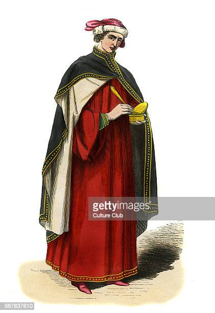 Italian doctor male costume of 14th century Shown holding doctors tools of trade and wearing a scarlet habit with black cape lined with gold buttons...