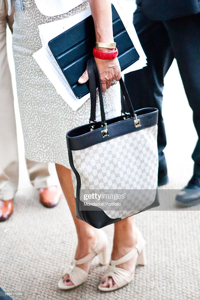 Italian economist and Minister of Labour <a gi-track='captionPersonalityLinkClicked' href=/galleries/search?phrase=Elsa+Fornero&family=editorial&specificpeople=8642721 ng-click='$event.stopPropagation()'>Elsa Fornero</a> holding a Gucci bag in her hand. The econimist is attending the annual economic forum Intelligence on the world, Europe and Italy organized by The European House Ambrosetti at Villa d'Este. Cernobbio, 10th September 2012.