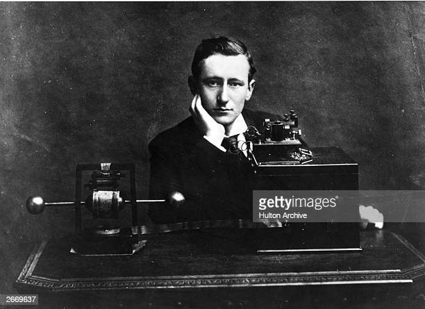 Italian electrical engineer and nobel laureate Guglielmo Marconi with the wireless apparatus which he brought to England